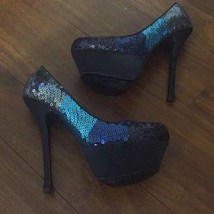 Steve Madden sequin platform high heels
